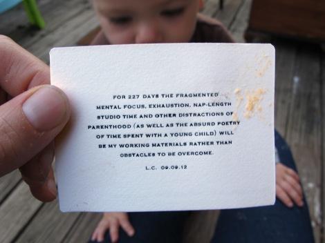 """Vistors Card - Back"", by Lenka Clayton"